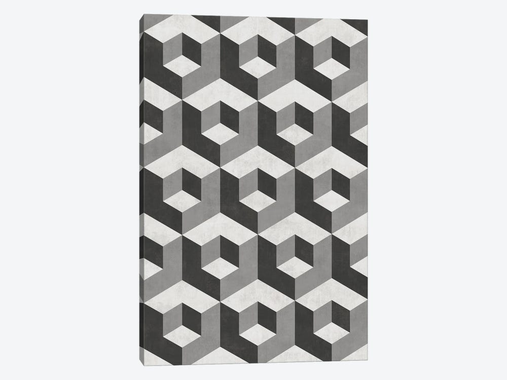 Geometric Cube Pattern 2 - Shades of Grey by Zoltan Ratko 1-piece Canvas Artwork