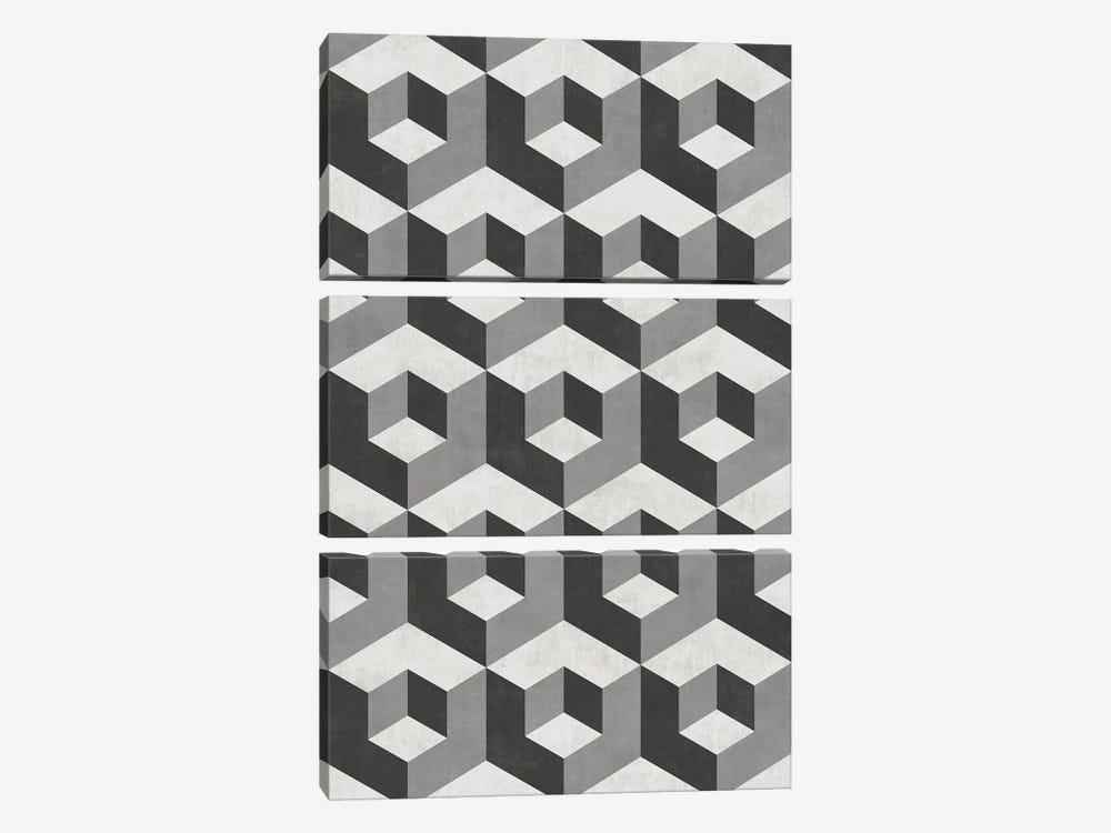 Geometric Cube Pattern 2 - Shades of Grey by Zoltan Ratko 3-piece Canvas Art