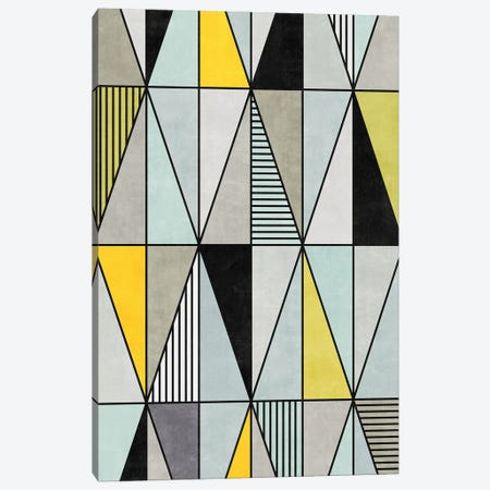 Colorful Concrete Triangles - Yellow, Blue, Grey Canvas Print #ZRA6} by Zoltan Ratko Canvas Wall Art
