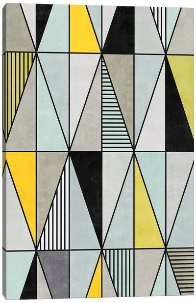 Colorful Concrete Triangles - Yellow, Blue, Grey Canvas Art Print