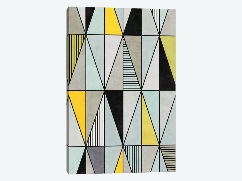 Colorful Concrete Triangles - Yellow, Blue, Grey by Zoltan Ratko 1-piece Canvas Art Print