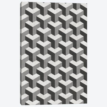 Interlocking Cubes Pattern - Shades of Grey Canvas Print #ZRA70} by Zoltan Ratko Canvas Artwork