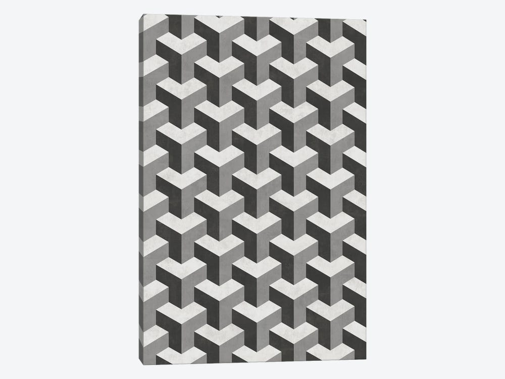 Interlocking Cubes Pattern - Shades of Grey by Zoltan Ratko 1-piece Canvas Art