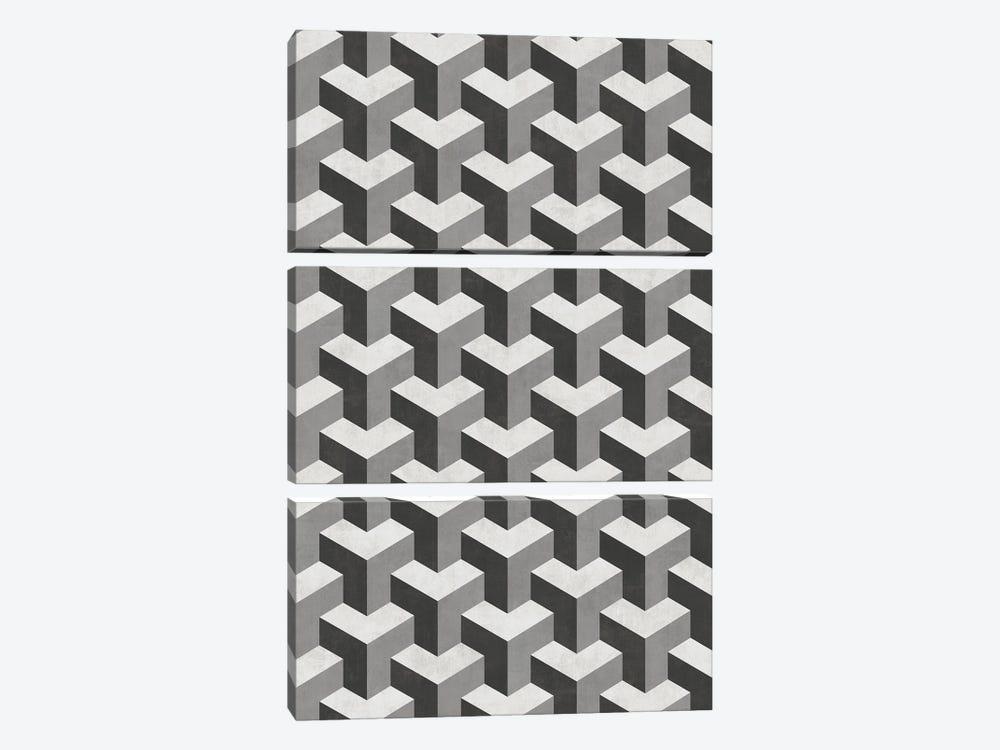 Interlocking Cubes Pattern - Shades of Grey by Zoltan Ratko 3-piece Canvas Artwork