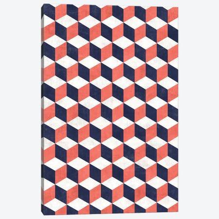 Geometric Cube Pattern - Coral, White, Blue Concrete Canvas Print #ZRA71} by Zoltan Ratko Canvas Wall Art