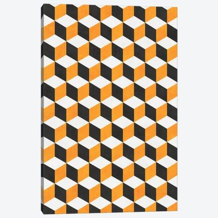 Geometric Cube Pattern - Yellow, White, Grey Concrete Canvas Print #ZRA72} by Zoltan Ratko Canvas Artwork