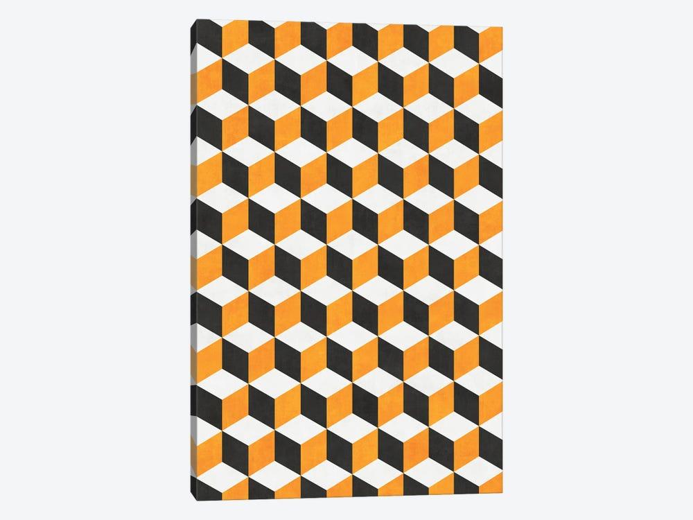 Geometric Cube Pattern - Yellow, White, Grey Concrete by Zoltan Ratko 1-piece Canvas Art