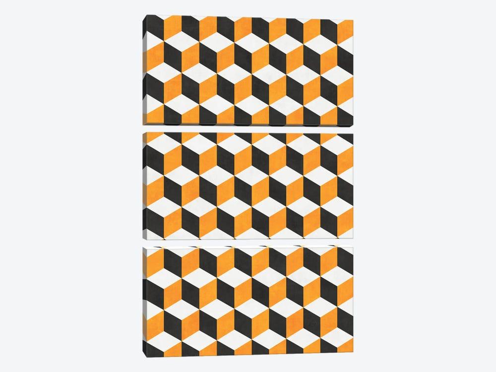 Geometric Cube Pattern - Yellow, White, Grey Concrete by Zoltan Ratko 3-piece Canvas Artwork