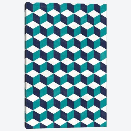 Geometric Cube Pattern - Turquoise, White, Blue Concrete Canvas Print #ZRA73} by Zoltan Ratko Canvas Artwork