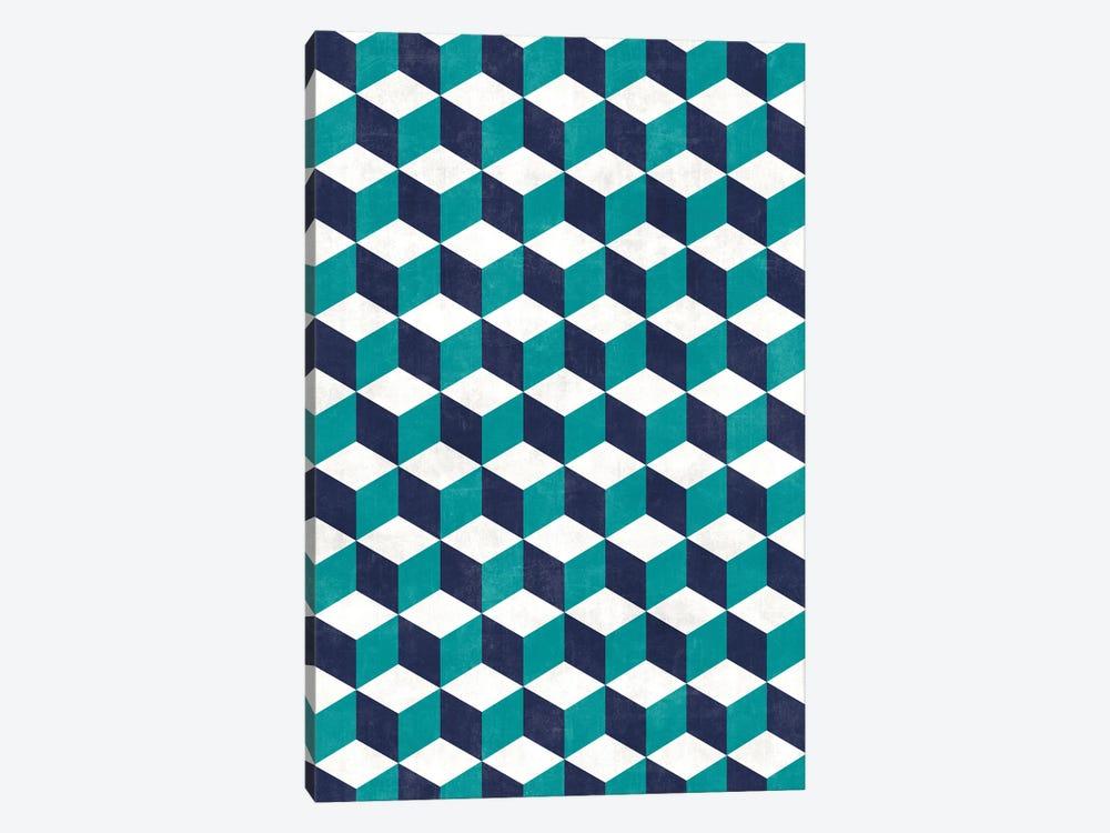 Geometric Cube Pattern - Turquoise, White, Blue Concrete by Zoltan Ratko 1-piece Canvas Print