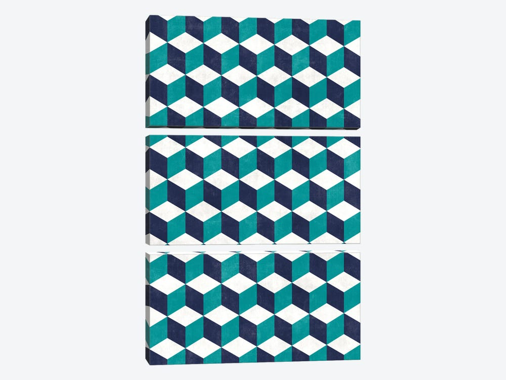 Geometric Cube Pattern - Turquoise, White, Blue Concrete by Zoltan Ratko 3-piece Art Print