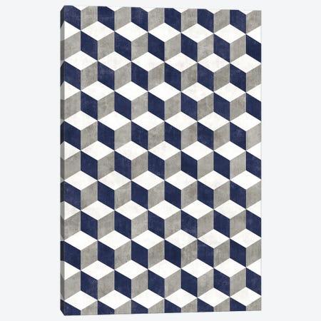 Geometric Cube Pattern - Grey, White, Blue Concrete Canvas Print #ZRA74} by Zoltan Ratko Canvas Print