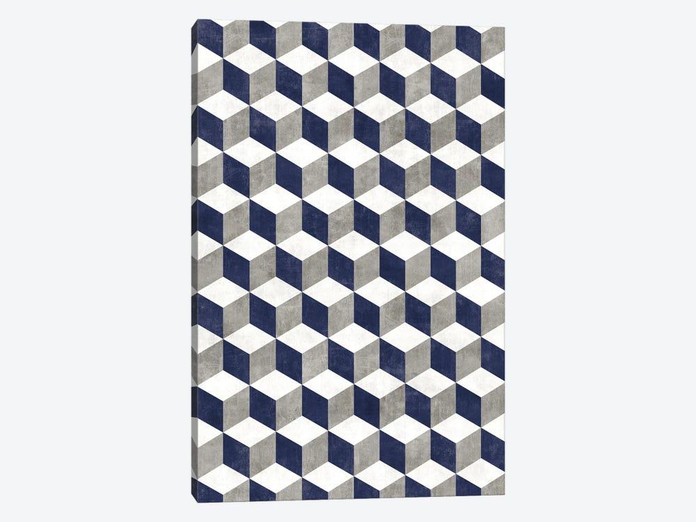 Geometric Cube Pattern - Grey, White, Blue Concrete by Zoltan Ratko 1-piece Canvas Wall Art