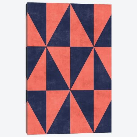 Geometric Triangle Pattern - Coral, Blue Concrete Canvas Print #ZRA75} by Zoltan Ratko Art Print