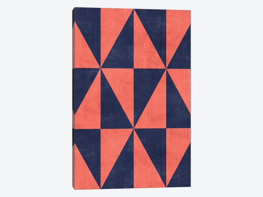 Geometric Triangle Pattern - Coral, Blue Concrete by Zoltan Ratko 1-piece Canvas Print