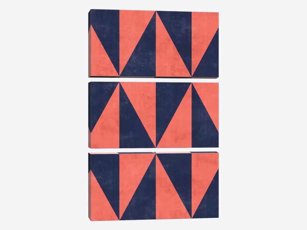 Geometric Triangle Pattern - Coral, Blue Concrete by Zoltan Ratko 3-piece Canvas Art Print