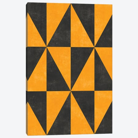 Geometric Triangle Pattern - Yellow, Grey Concrete Canvas Print #ZRA76} by Zoltan Ratko Canvas Art Print