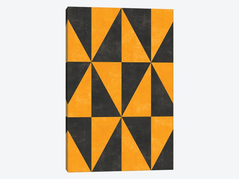 Geometric Triangle Pattern - Yellow, Grey Concrete by Zoltan Ratko 1-piece Canvas Artwork