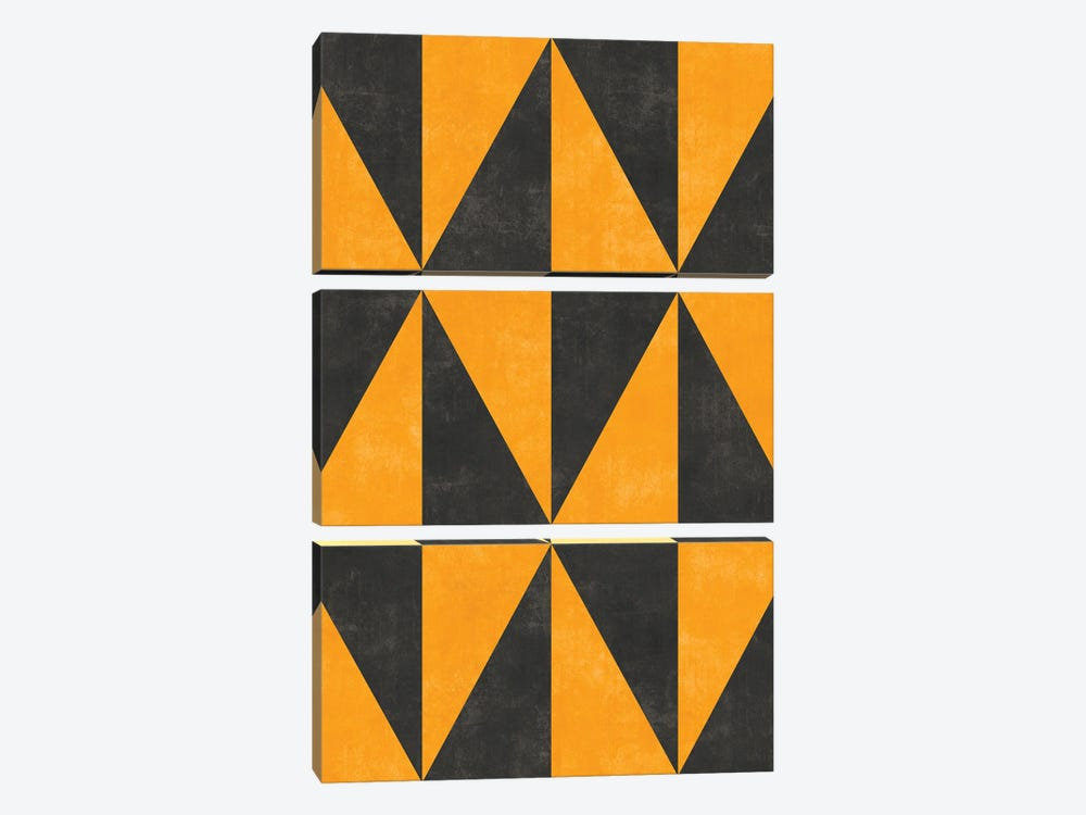Geometric Triangle Pattern - Yellow, Grey Concrete by Zoltan Ratko 3-piece Canvas Wall Art