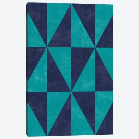 Geometric Triangle Pattern - Turquoise, Blue Concrete Canvas Print #ZRA77} by Zoltan Ratko Art Print