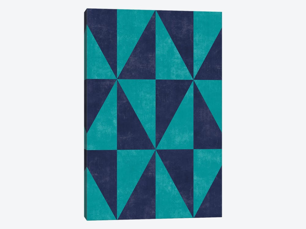 Geometric Triangle Pattern - Turquoise, Blue Concrete by Zoltan Ratko 1-piece Canvas Art Print