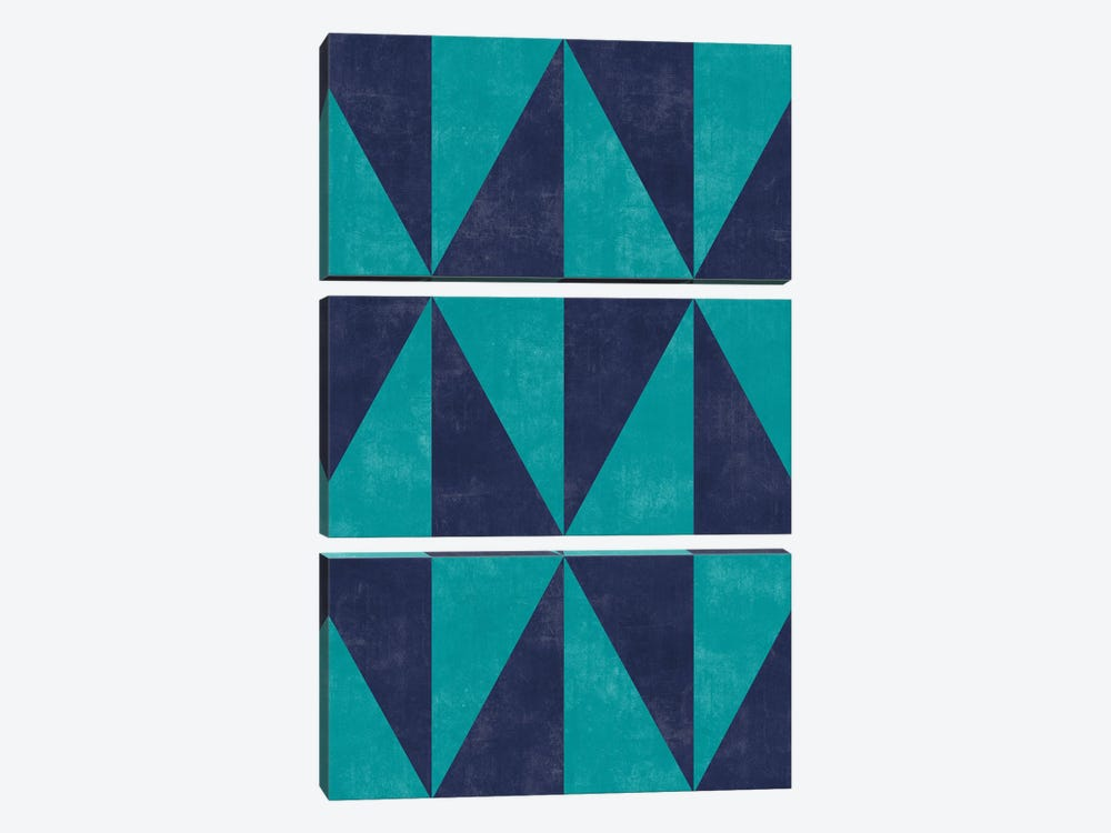 Geometric Triangle Pattern - Turquoise, Blue Concrete by Zoltan Ratko 3-piece Canvas Print