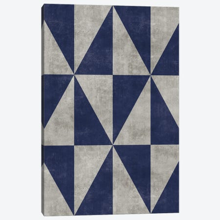 Geometric Triangle Pattern - Grey, Blue Concrete Canvas Print #ZRA78} by Zoltan Ratko Canvas Artwork