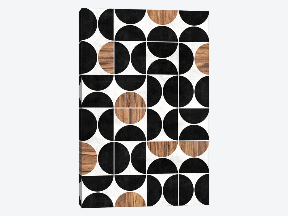 Mid-Century Modern Pattern No.1 - Concrete and Wood by Zoltan Ratko 1-piece Canvas Print