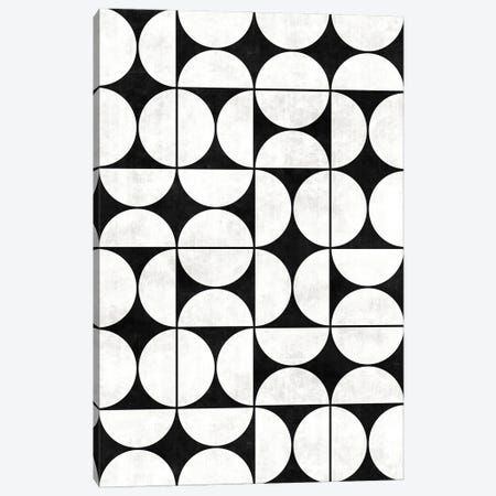 Mid-Century Modern Pattern No.2 - Black and White Concrete Canvas Print #ZRA80} by Zoltan Ratko Canvas Art Print