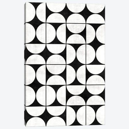 Mid-Century Modern Pattern No.2 - Black and White Concrete Canvas Print #ZRA80} by Zoltan Ratko Canvas Art Print