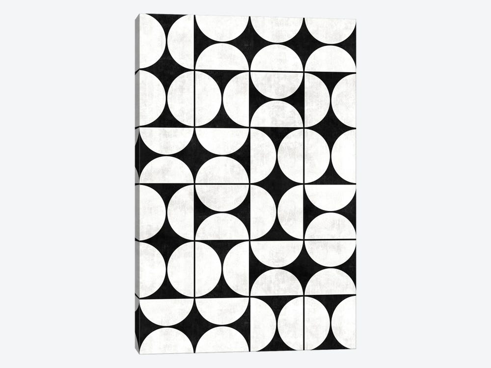 Mid-Century Modern Pattern No.2 - Black and White Concrete by Zoltan Ratko 1-piece Art Print