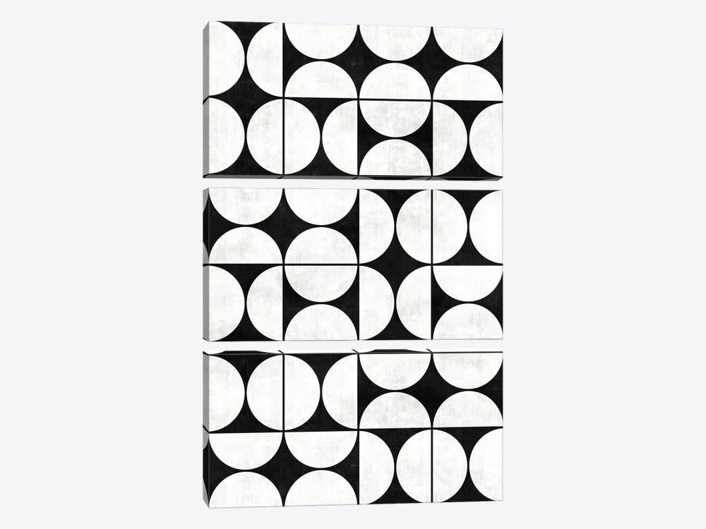 Mid-Century Modern Pattern No.2 - Black and White Concrete by Zoltan Ratko 3-piece Canvas Art Print