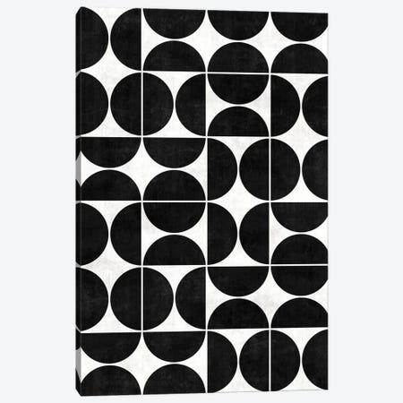 Mid-Century Modern Pattern No.3 - Black and White Concrete Canvas Print #ZRA81} by Zoltan Ratko Canvas Art Print