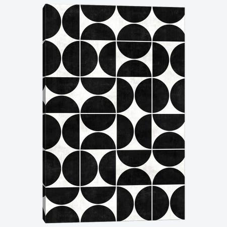 Mid-Century Modern Pattern No.3 - Black and White Concrete Canvas Print #ZRA81} by Zoltan Ratko Canvas Art Print