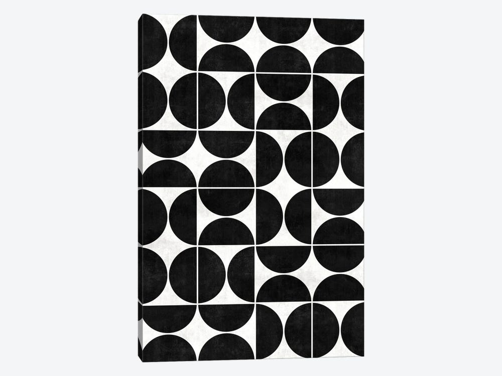 Mid-Century Modern Pattern No.3 - Black and White Concrete by Zoltan Ratko 1-piece Canvas Art