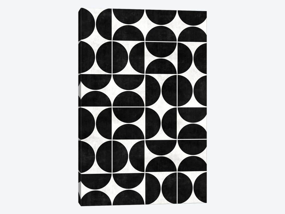 Mid-Century Modern Pattern No.3 - Black and White Concrete by Zoltan Ratko 1-piece Canvas Art