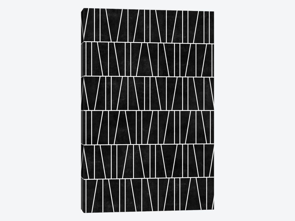 Mid-Century Modern Pattern No.5 - Black Concrete by Zoltan Ratko 1-piece Canvas Artwork
