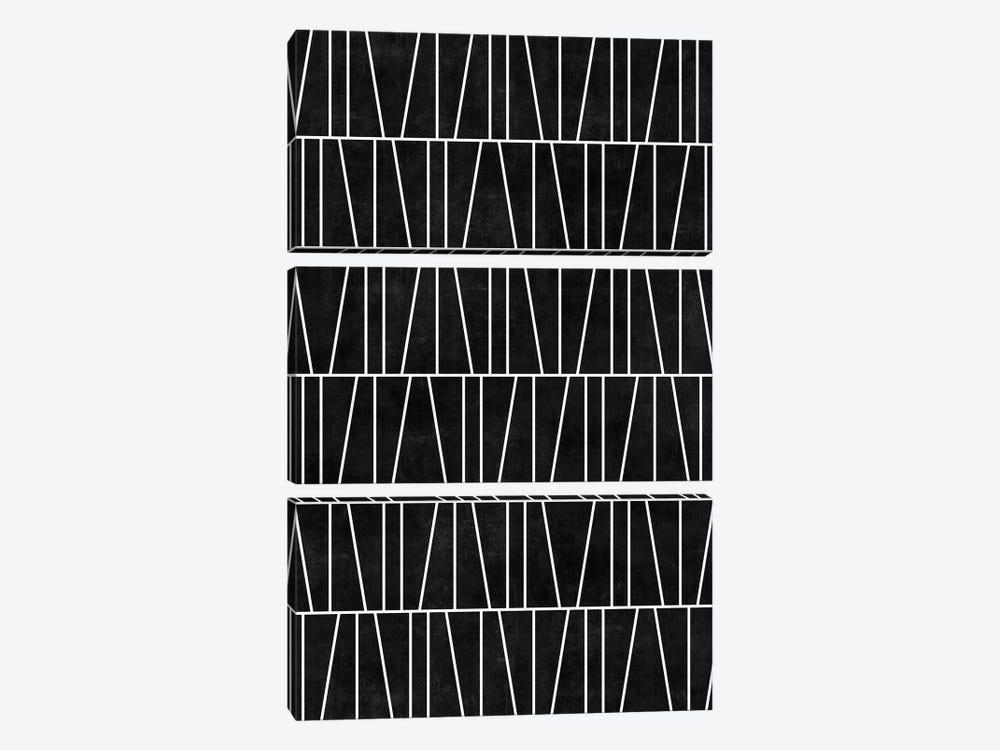 Mid-Century Modern Pattern No.5 - Black Concrete by Zoltan Ratko 3-piece Canvas Artwork