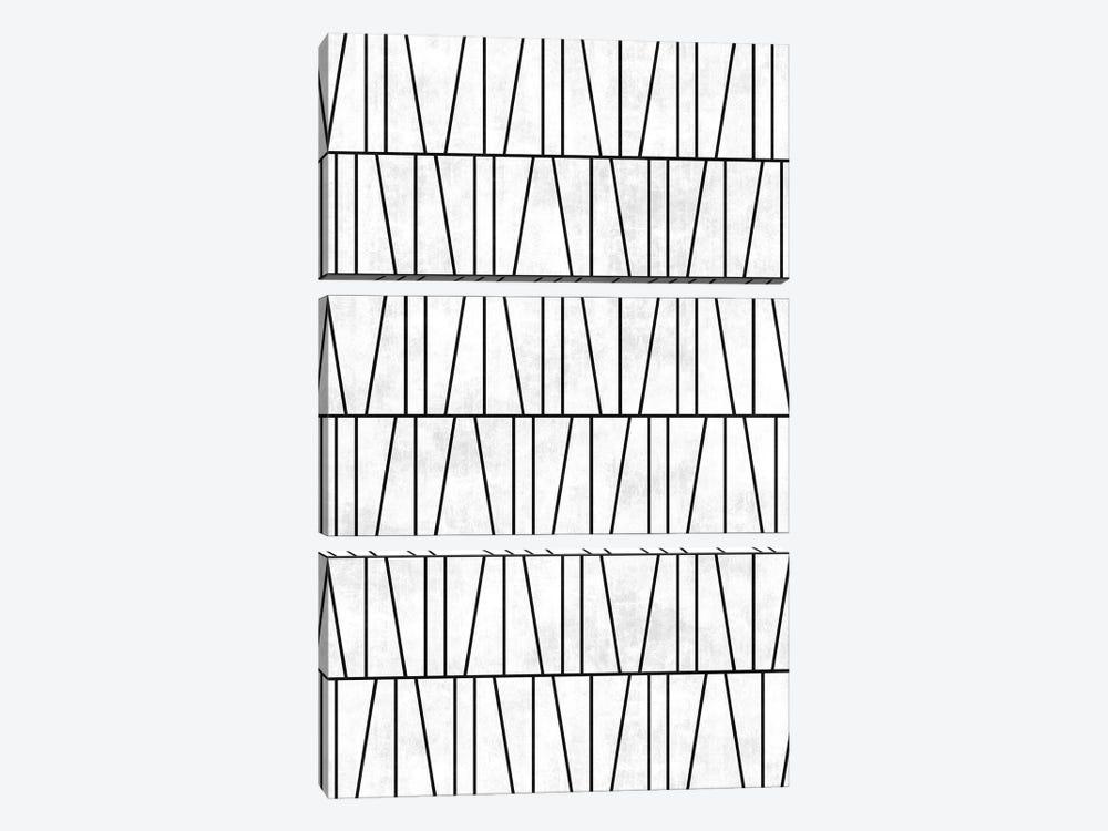 Mid-Century Modern Pattern No.6 - White Concrete by Zoltan Ratko 3-piece Canvas Art Print