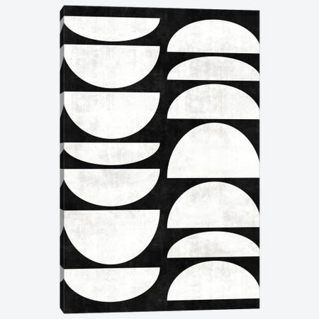 Mid-Century Modern Pattern No.8 - Black and White Concrete Canvas Print #ZRA86} by Zoltan Ratko Canvas Artwork