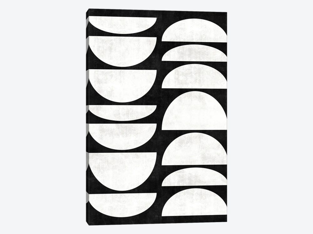 Mid-Century Modern Pattern No.8 - Black and White Concrete 1-piece Art Print