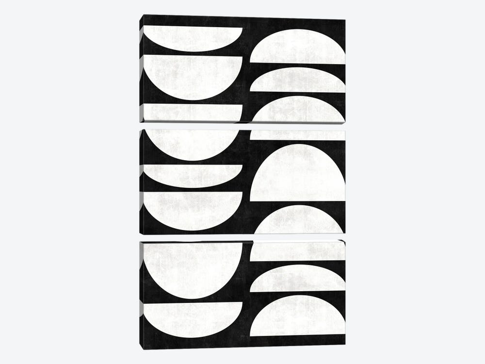 Mid-Century Modern Pattern No.8 - Black and White Concrete by Zoltan Ratko 3-piece Canvas Art Print