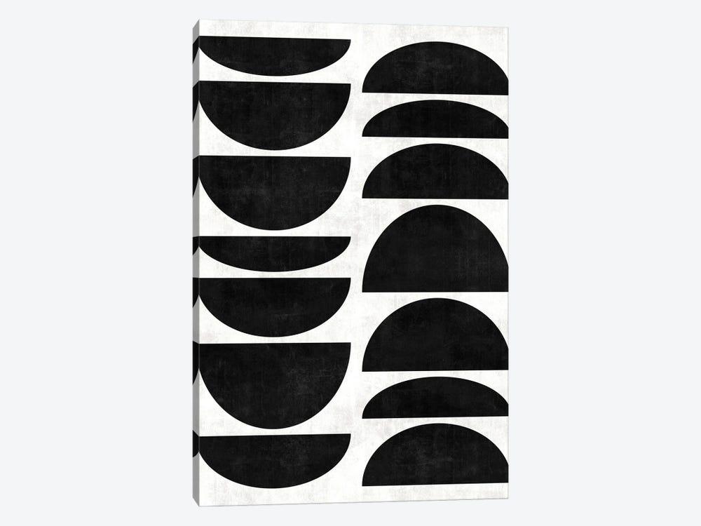 Mid-Century Modern Pattern No.9 - Black and White Concrete by Zoltan Ratko 1-piece Canvas Art