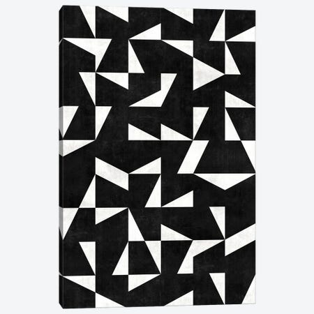 Mid-Century Modern Pattern No.10 - Black and White Concrete Canvas Print #ZRA88} by Zoltan Ratko Art Print