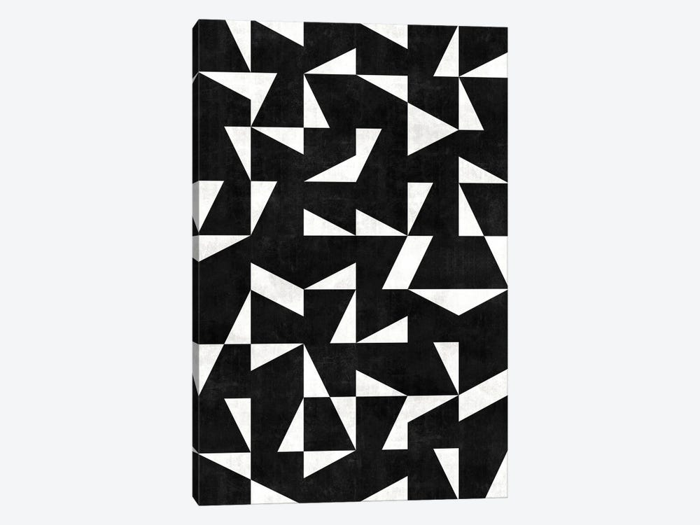 Mid-Century Modern Pattern No.10 - Black and White Concrete by Zoltan Ratko 1-piece Canvas Art Print