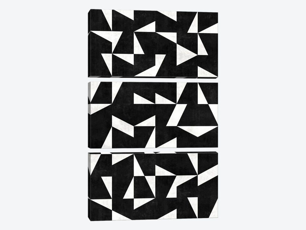 Mid-Century Modern Pattern No.10 - Black and White Concrete by Zoltan Ratko 3-piece Art Print