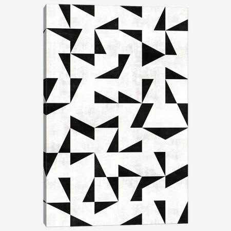 Mid-Century Modern Pattern No.11 - Black and White Concrete Canvas Print #ZRA89} by Zoltan Ratko Canvas Art Print