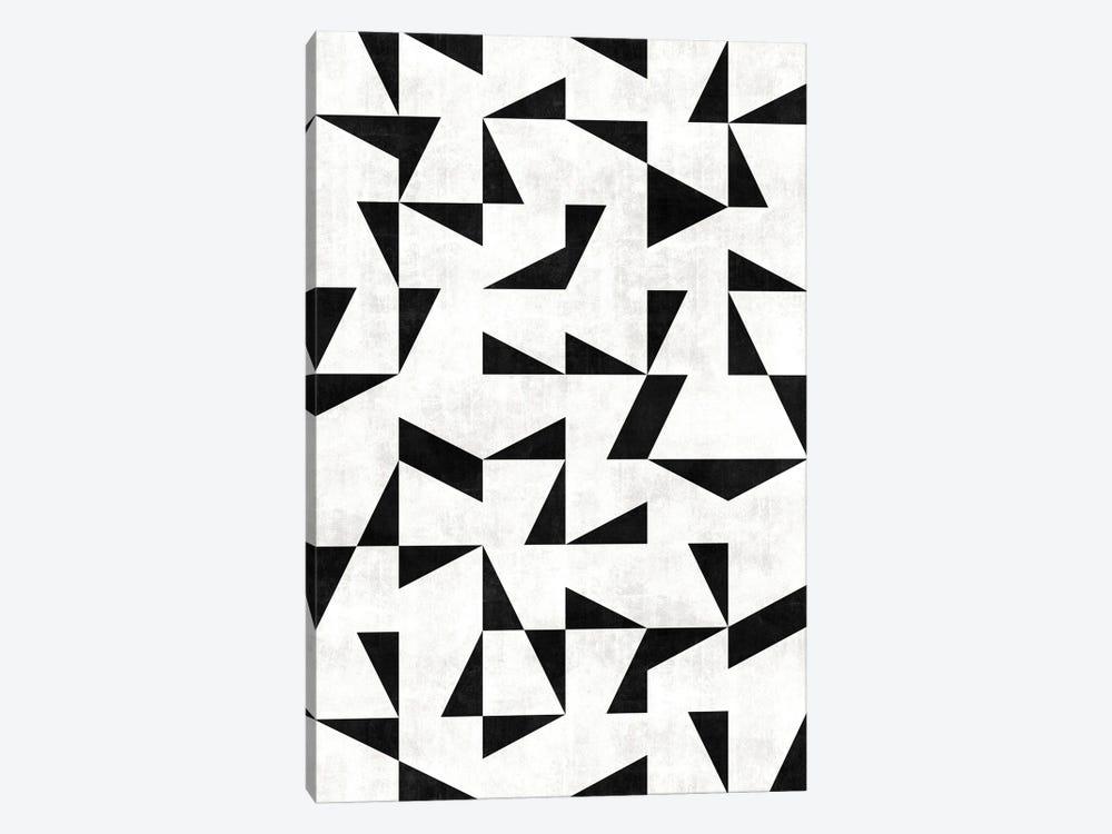 Mid-Century Modern Pattern No.11 - Black and White Concrete by Zoltan Ratko 1-piece Canvas Artwork