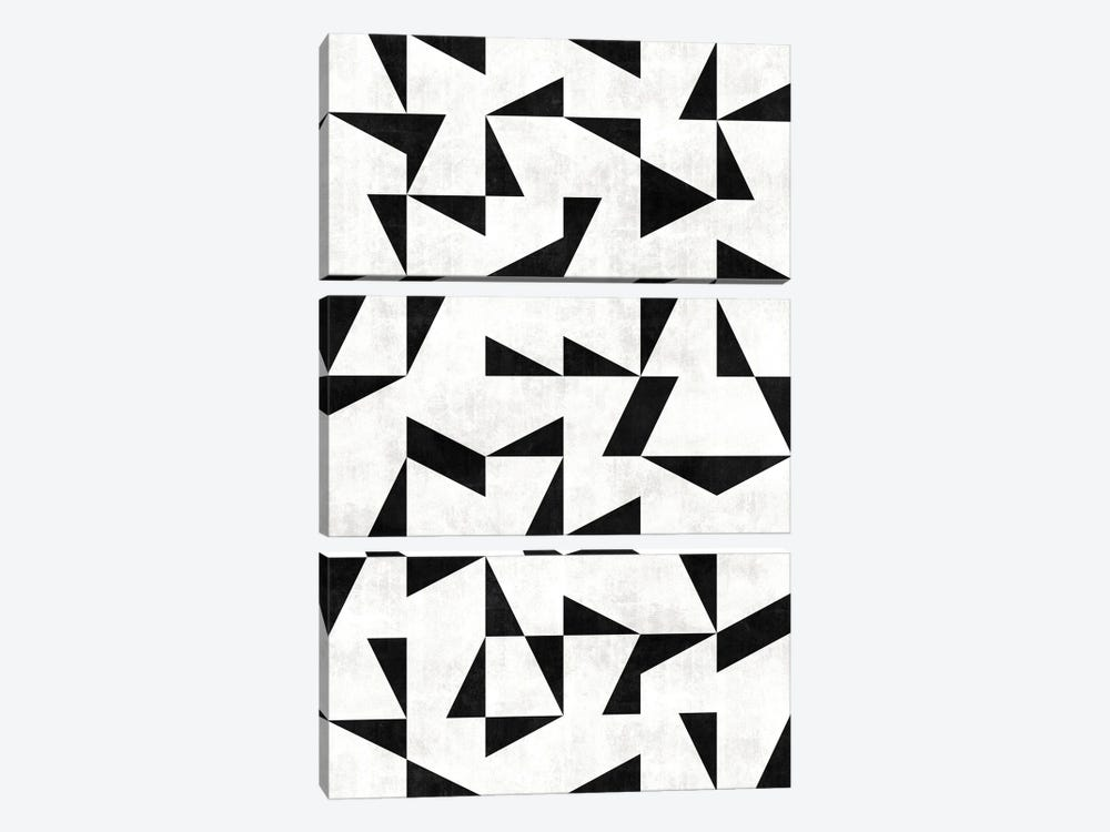 Mid-Century Modern Pattern No.11 - Black and White Concrete by Zoltan Ratko 3-piece Canvas Wall Art