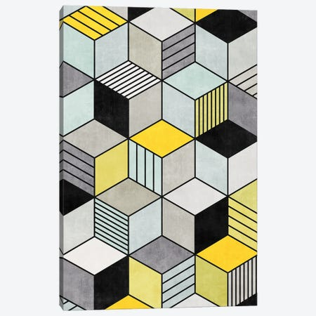 Colorful Concrete Cubes 2 - Yellow, Blue, Grey Canvas Print #ZRA8} by Zoltan Ratko Canvas Art Print